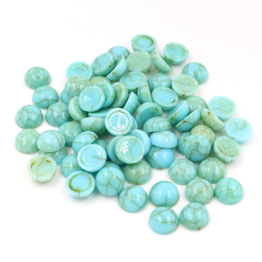 40pcs/lot 8mm 10mm Turquoise Blue Colors Natural Cracked Style Flat Back Resin Cabochons For Bracelet Earrings Accessories