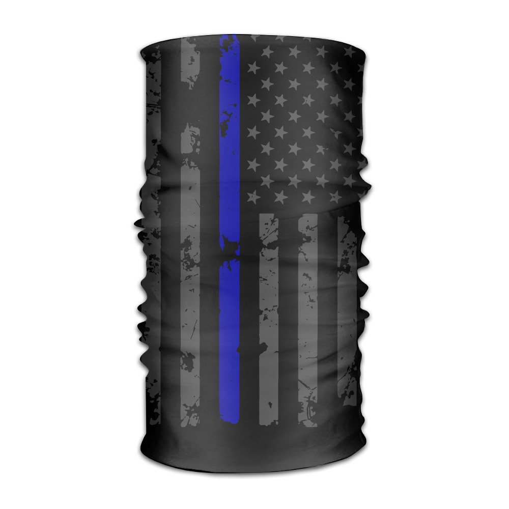 DahelinG Unisex Stylish Thin Blue Line Flag Police American Quick Dry Microfiber Headwear Outdoor Magic Bandana As Neck Gaiter