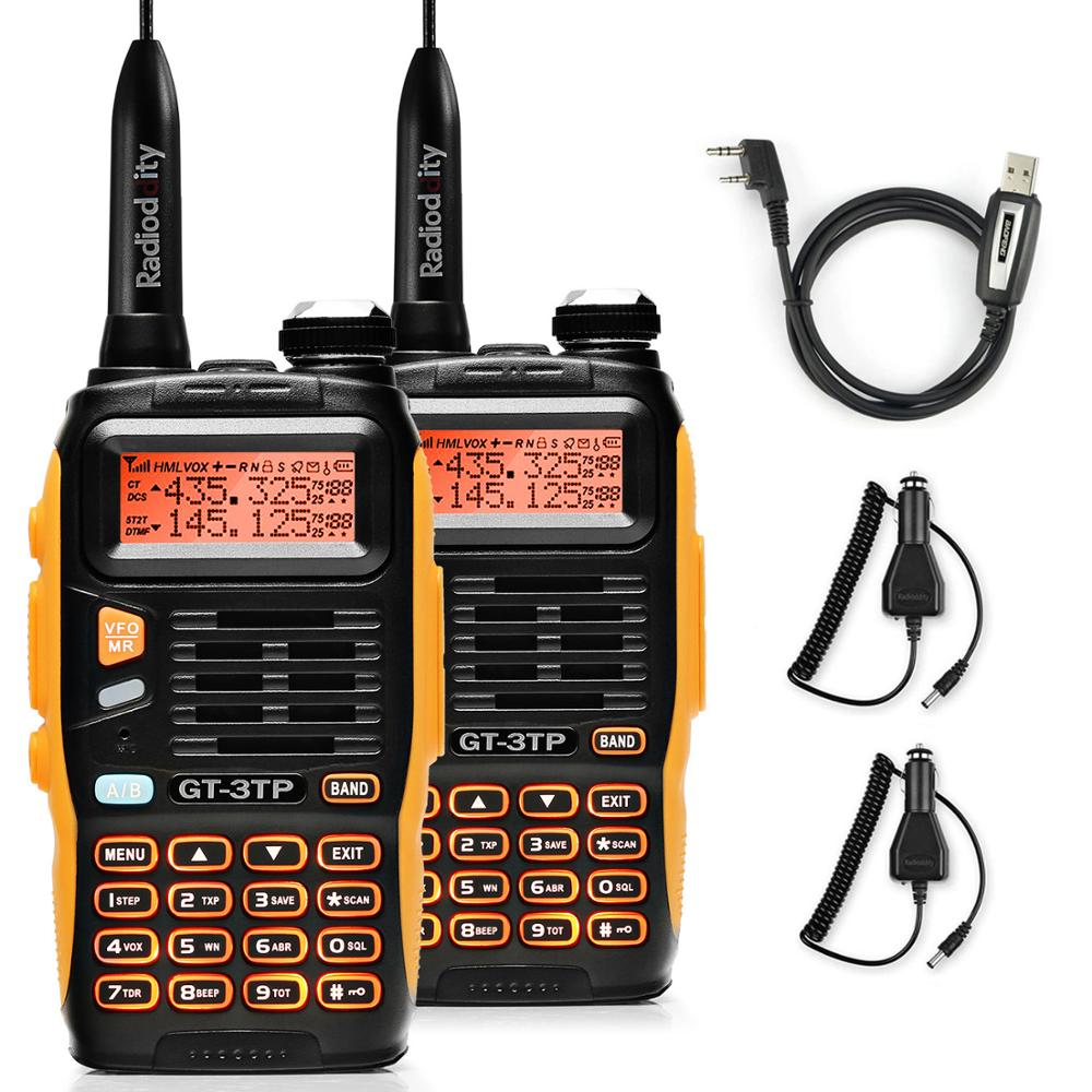 2 PCS Baofeng GT-3TP MarkIII TP 1/4/8Watt High Power Dual Band 2M/70cm Ham Two Way Radio Walkie Talkie With Programming Cable