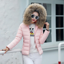 KMVEXO 2019 Fashion Female Solid Coat Autumn With Fur Collar Hooded Cotton Padded Winter Jacket Women Short Outwear Basic