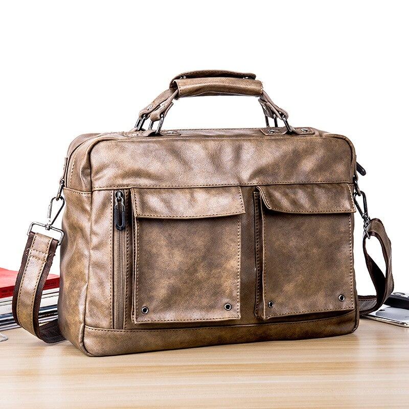 Large Vintage Briefcase Black Brown Pu Leader For Men Laptop Computer Work Office Business Waterproof High Quality Sling Sholder