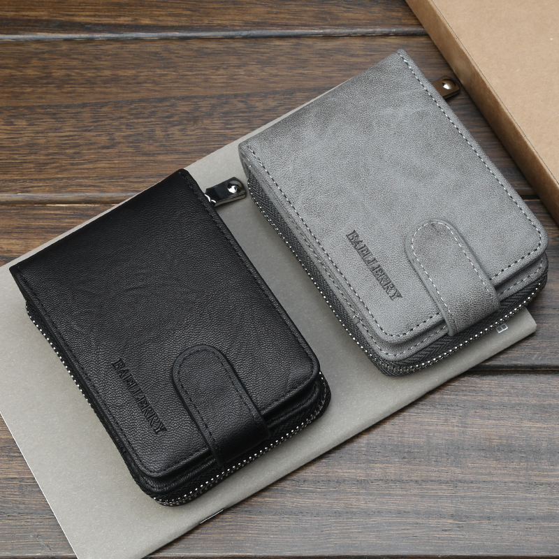Baellerry Wallet Men Business Solid Short Wallet PU Leather Zipper Hasp Porta Clip Handbag Card Holder Photo Holder Men Wallet in Wallets from Luggage Bags