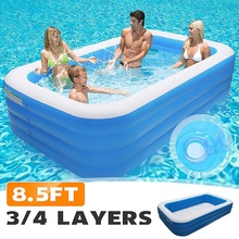 260x160x60/72 CM 3/4 Layers Rectangular Inflatable Swimming Pool Paddling Pool Bathing Tub Outdoor Summer Swimming Pool For Kids