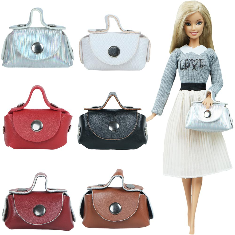 1 Pcs Handmade Doll Leather Bag Fashion Shoulder Shopping Handbag For Barbie Doll Accessories Baby Toys 1/6 Doll Mixed Color
