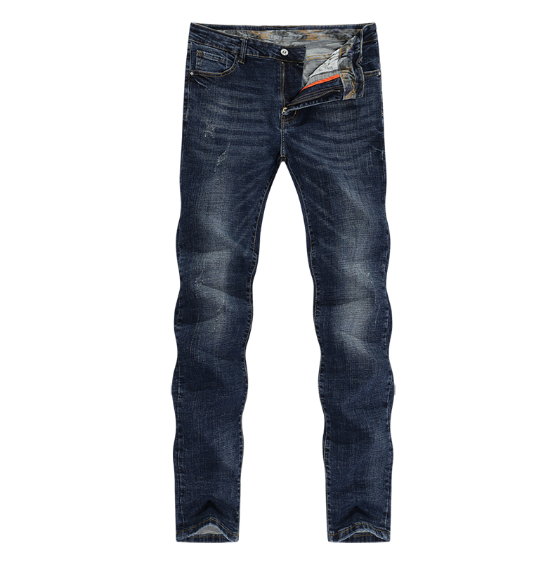 KSTUN Mens Jeans Brand Winter Jeans Dark Blue Slim Straight Stretch Business Casaul Denim Pants