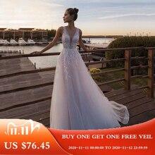LORIE 라이트 핑크 공주 웨딩 드레스 민소매 Appliqued 신부 드레스 라인 Tulle 신부 웨딩 드레스 Boho 웨딩 드레스 2020