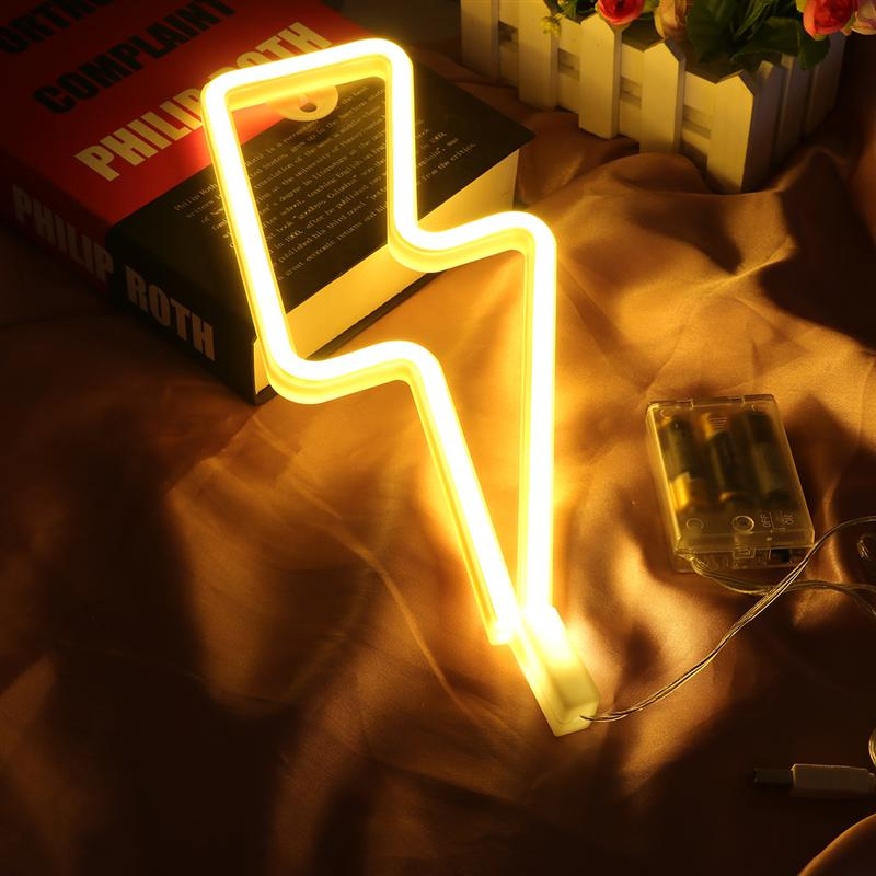 LED Neon Sign Lightning Shaped USB Battery Operated Night Light And Decorative Table Lamp For Home Party Living Room Decoration