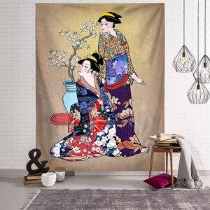 Image 4 - Japonais Kanagawa vagues imprimé tapisserie suspendue baleine Arowana cerf serpent Totem tenture murale tapisseries Boho couvre lit couverture
