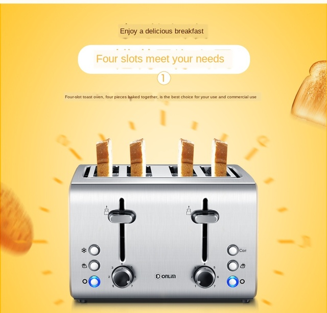 Donlim Toaster Household Breakfast Toaster 4 PCs Fully Automatic Toaster Breakfast machine Kitchen appliances Dropshipping 1