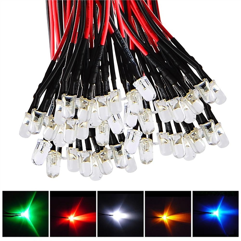 New 10Pcs 20cm 3mm/5mm LED Lamp Cable Bulb Pre-wired DC Emitting Diode Light