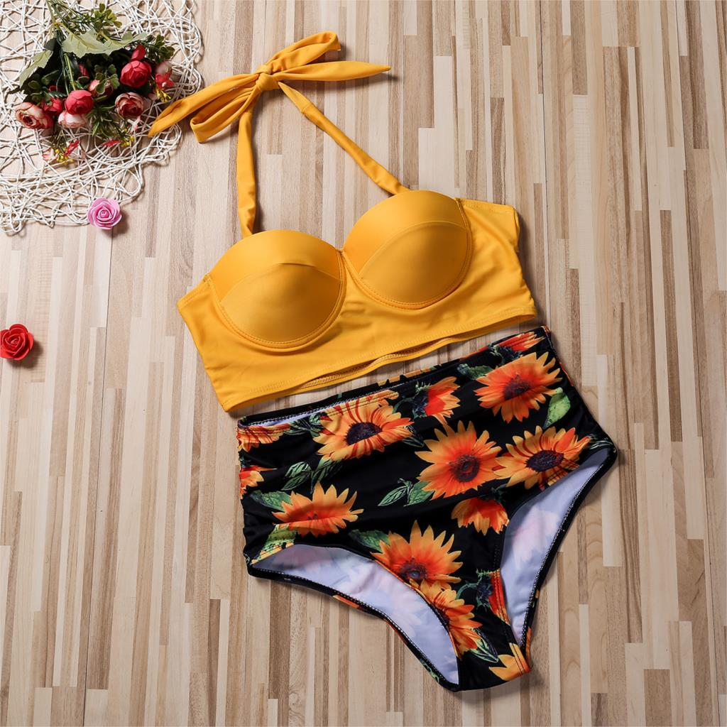 Hirigin Plus Size Women Flower Bikini Set 2020 New High Waist Push Up Swimwear Padded Bathing Suit Swimming Suit Summer 6