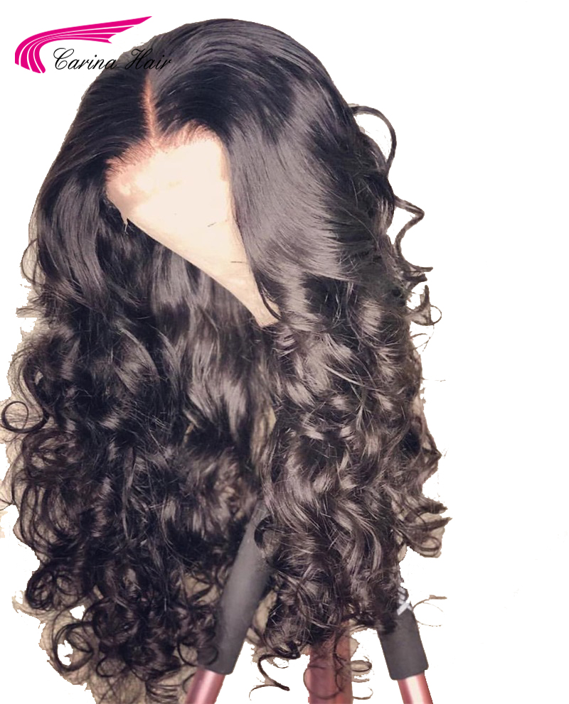Wigs Human-Hair Lace-Front Carina Brazilian Glueless-Wigs Body-Wave Pre-Plucked-Hairline