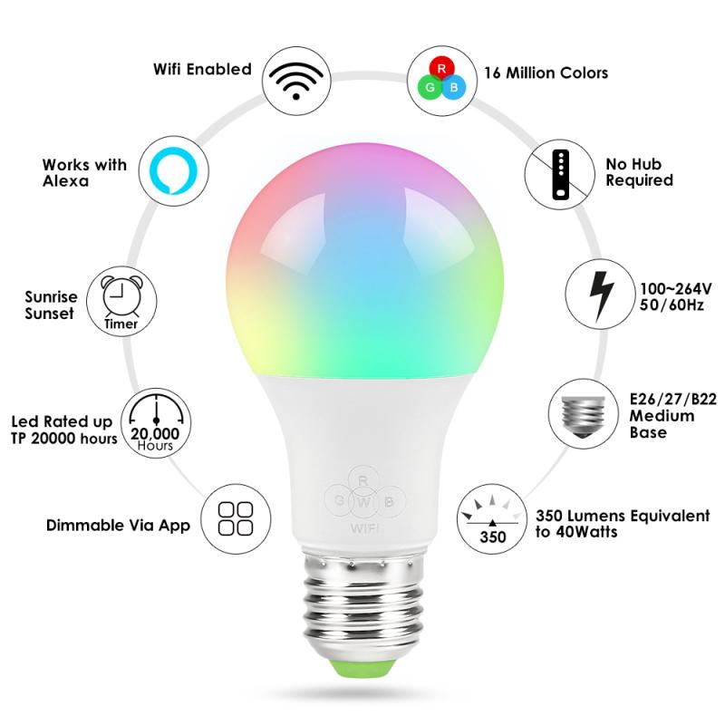 Wifi Smart LED Bulb Multicolor RGB Indoor Atmosphere Light Voice Control App Remote Control Work With Alexa Google Assistant