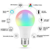 Wifi inteligente lâmpada led multicolorido rgb atmosfera interior luz controle de voz app controle remoto trabalho com alexa assistente do google|Holofotes de LED| |  -