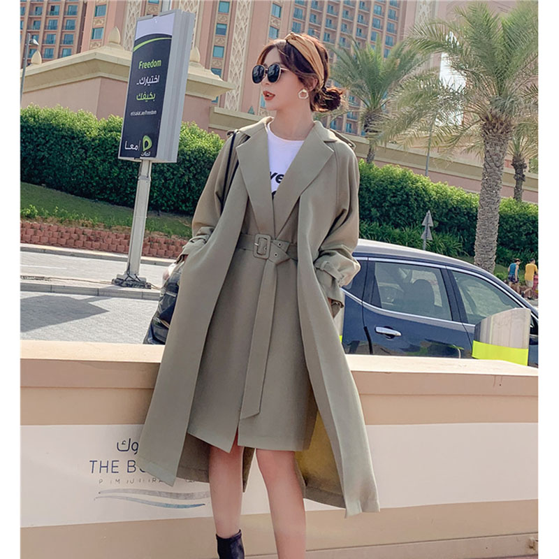Windbreaker Female 2020 Spring British Fake Two Pieces Irregular Long Trench Coat For Women Leisure Chic With Belt Overcoats W41