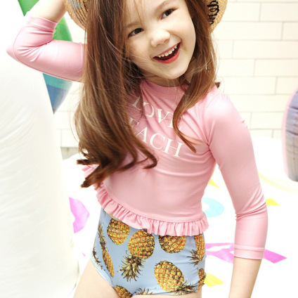 Baby Long-sleeved Swimsuit Kids Tour Bathing Suit Small CHILDREN'S Infants Cute Children GIRL'S Split Type Retro High-waisted Sw