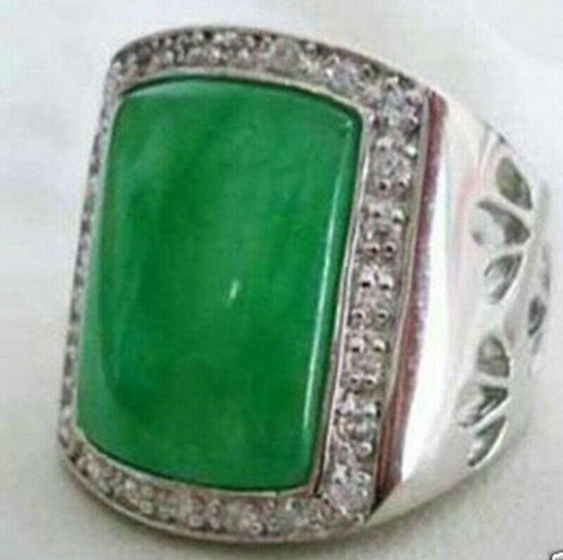 Fashion Jewelry Green jade Gemstone men's ring size:8-11