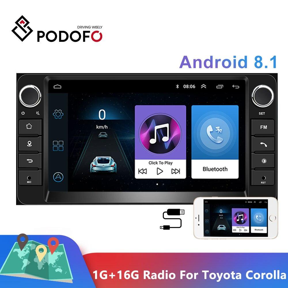 Podofo 1G + 16G Android 8.1 Radio samochodowe Radio samochodowe 7 ''Radio samochodowe Stereo samochodu GPS MP5 MirrorLink dla toyota Corolla odtwarzacz multimedialny