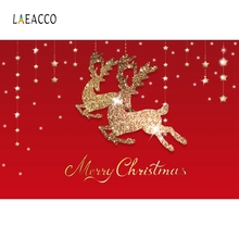 Laeacco Merry Christmas Golden Elk Red Photography Backgrounds Vinyl Baby Party Props Photographic Backdrops For Photo Studio