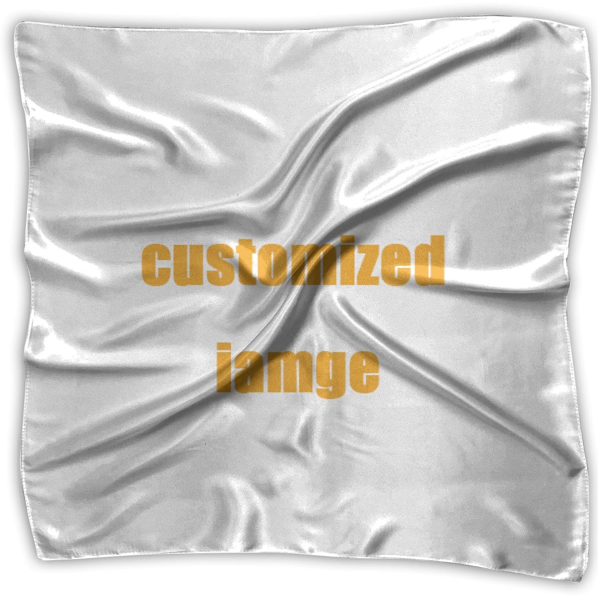 NOISYDESIGNS 60cm Custom Logo Women Square Head Scarf Wraps Scarves Ladies Printed Kerchief Neck Beautiful Scarf Shawl Fashion