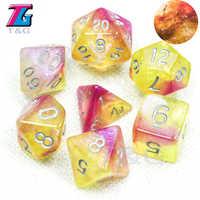 Venta caliente RPG DND juego universo Digital Galaxy juego de dados de D4-D20 con bolsa brillante Effectt genial para juego de regalo