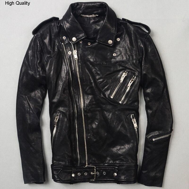 Men's Genuine Leather Jacket Sheep Skin Winter Coat Tanned Leather Epaulet Lapel Short Double Zipper Motorcycle Clothing