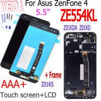 Pantalla LCD de calidad AAA de 5,5 pulgadas para ASUS Zenfone 4 ZE554KL Z01KD, montaje de digitalizador con pantalla táctil, piezas de repuesto con marco