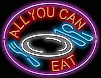 Custom All You Can Eat Glass Neon Light Sign Beer Bar