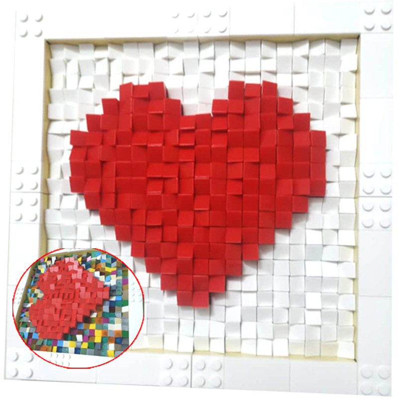 <font><b>1000</b></font> <font><b>pcs</b></font> Love Building Block Pixel Painting <font><b>Compatible</b></font> With Lovers Creative Gift Ritual Sense Heart-shaped Assembled Toy image
