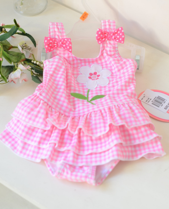 [Micro For On Behalf Of KID'S Swimwear Baby Pink Plaid Embroidery Cake Cute Princess Dress-One-piece