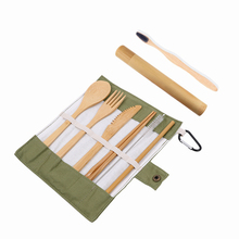 Bamboo Flatware Reusable Utensils With Charcoal Toothbrush Bamboo Case Travel Cutlery Set Camping Utensils Fork Spoon Knife Set portable bamboo korean cutlery set wooden tableware knife fork spoon set with eco friendly bamboo straw for travel cutlery set
