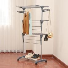 Storage Wardrobe Clothes Drying Rack Detachable Aluminum Alloy Three-layer  Folding Drying Rack Household Standing Laundry Rack