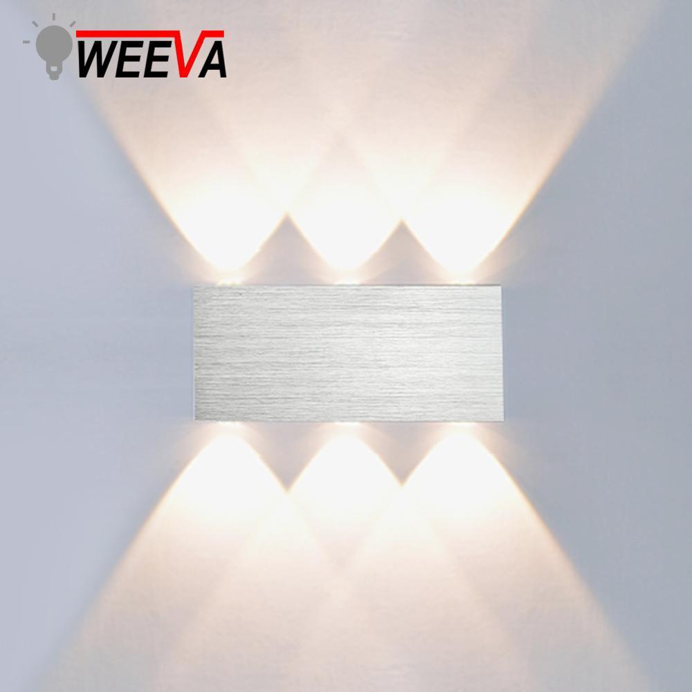 WEEVA Led Wall Lamp Modern Sconce Stair Light Fixture Bedroom Bed Living Room Bedside Indoor Lighting Home Hallway Loft Silver