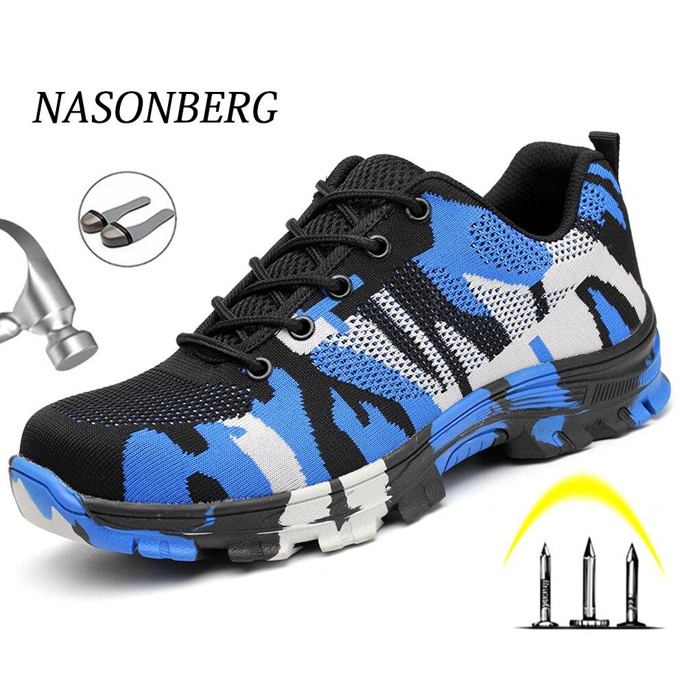 NASONBERG Air Mesh Steel Toe Work Shoes Men Women Shoes Indestructible Safety Shoes Anti Piercing Work Safety Boots Men