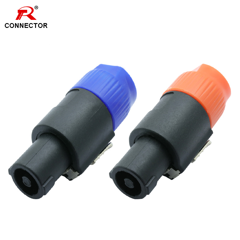 8pcs Speak Connectors, NL4FC, 4 Poles, Speaker Male Plug Audio Wire Connector, Blue&Orange Color