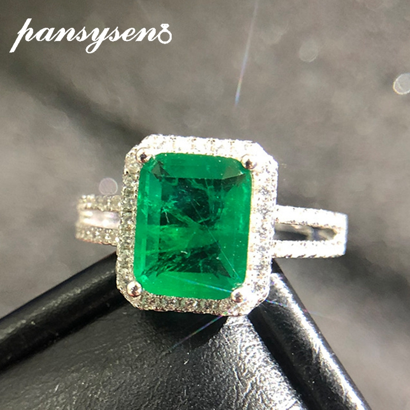 PANSYSEN Luxury Top Quality  Emerald Rings For Women Wedding Engagement Cocktail Ring 100% 925 Sterling Silver Fine Jewelry Gift