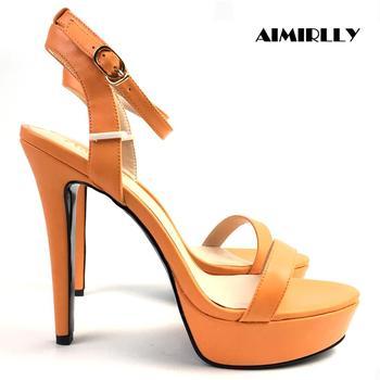 Womens Shoes Peep Toe High Heels Sandals Platform Heels Ankle Strap Buckle Ladies Summer Shoes Orange Sky Blue Aimirlly