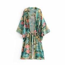 New Women's Lotus Print Kimono Cardigan Folk Boho Chic Women Long Cotton Jacket