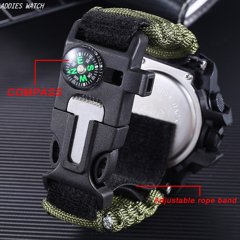 LED Military Watch with compass 30M Men Waterproof Sports Watch Men Sport Watch Shock Sport Watches Electronic Wristwatches title=