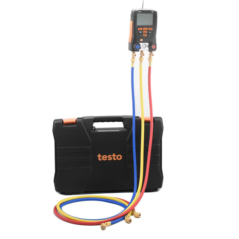 Testo 550 الرقمية المنوع التبريد قياس مع 2 قطعة المشبك 3 قطعة خراطيم التبريد متر مجموعة تحقيقات 0563 1550 Manometro