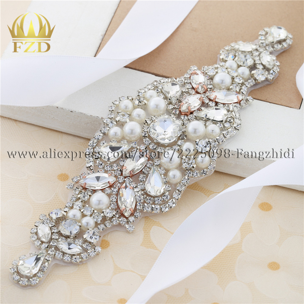 "7"" Rhinestone Applique Sew-on Bridal Wedding Embellishment Sash"