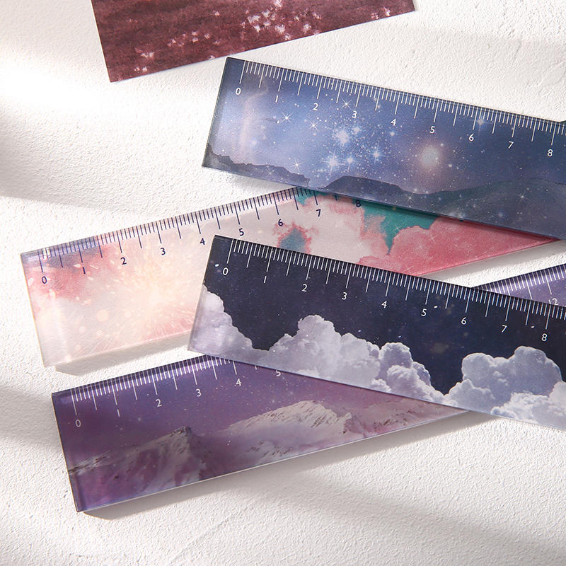 Journamm 160*30mm Acrylic Ruler Ins Style Snow Sky Star Kawaii Stationery Drawing Straight Rulers for Office School Stationery