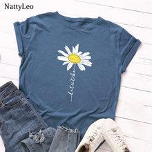 T-Shirt à manches courtes et col rond pour femme, estival et surdimensionné, avec imprimé marguerite, 100% coton