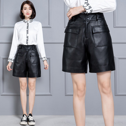 2020 Women New Real Genuine Sheep Leather Shorts KS60