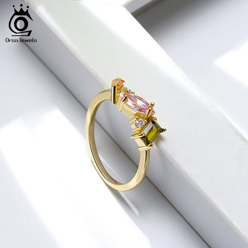 Image 3 - ORSA JEWELS Delicate 925 Silver Wedding Rings for Female with Multi Color Big Crystal Zircon Jewelry Party Gift Wholesale OSR208Rings   -