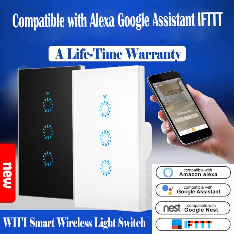 WiFi Light Switch Touch Control Wall Mount US Standard Smart Switch Compatible With Alexa Google Assistant IFTTT For Android IOS