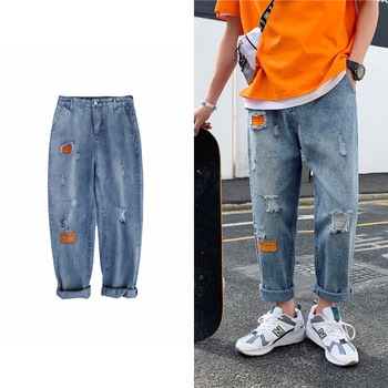 Summer Ripped Straight Jeans Men's Fashion Washed Casual Retro Hole Jeans Men Streetwear Loose Hip Hop Denim Trousers Mens straight jeans men s fashion washed casual retro ripped jeans pants men streetwear wild loose hip hop ripped denim trousers mens