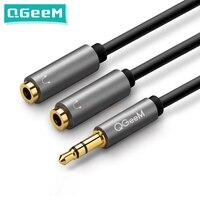 Przedłużacz słuchawkowy QGeeM Jack 3.5mm kabel Audio męski na 2 żeńskie kabel Aux rozdzielacz słuchawkowy dla iPhone Samsung S9 PC P20