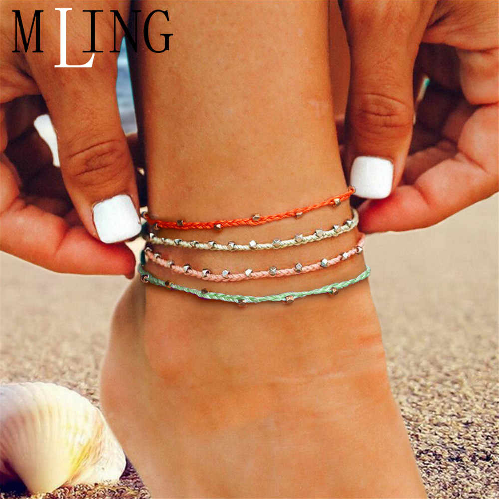 MLING Bohemian Adjustable Colorful Rope Chain Anklet Vintage Handmade Weave Beads Anklet For Women