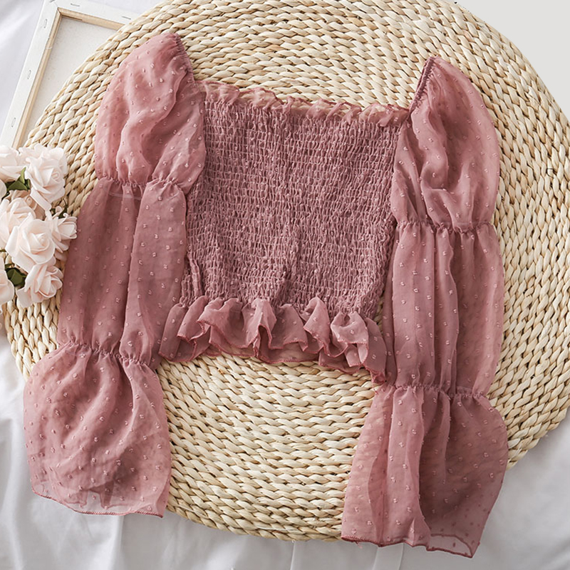 Womens Chiffon Vintage Solid Long Sleeve Tops And Blouses Ladies Casual Square Collar Butterfly Sleeve Shirts Blusas Mujer